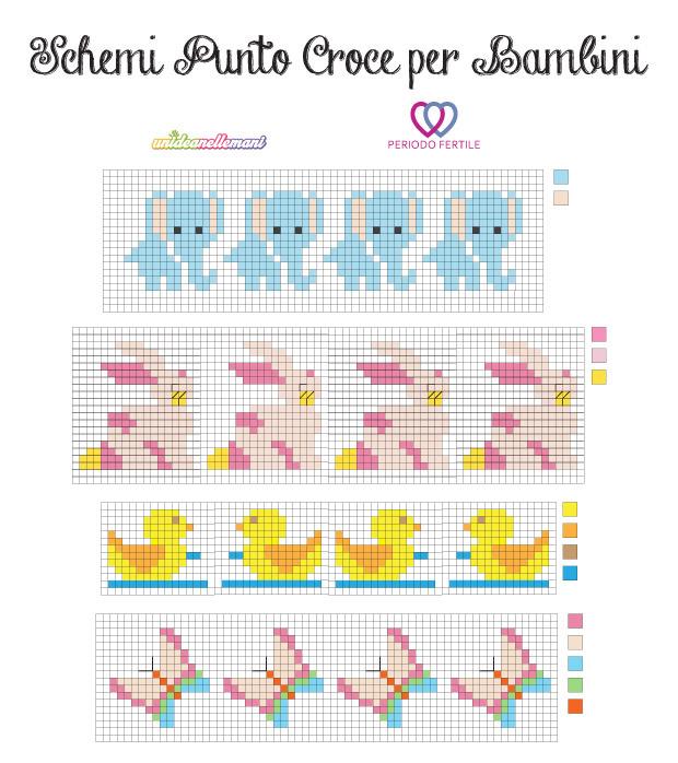 Il corredino a punto croce schemi da stampare for Ricami punto croce per neonati