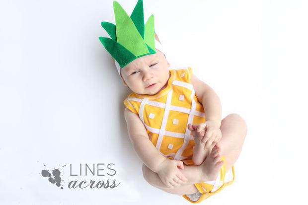 costume-carnevale neonati, costume carnevale frutta, costume ananas