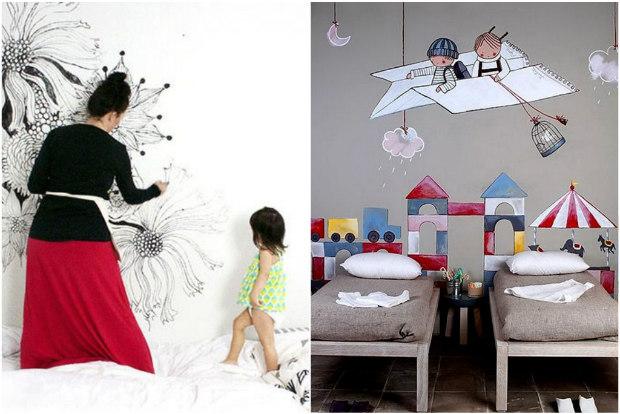 6 idee creative per dipingere le pareti della cameretta for Disegni per pareti